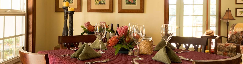 Breakfast Table set at Kalaekilohana Inn and Retreat - Na`alehu, Hawaii