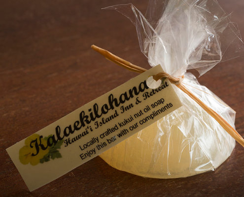 Locally crafted soaps used at Kalaekilohana Inn & Retreat